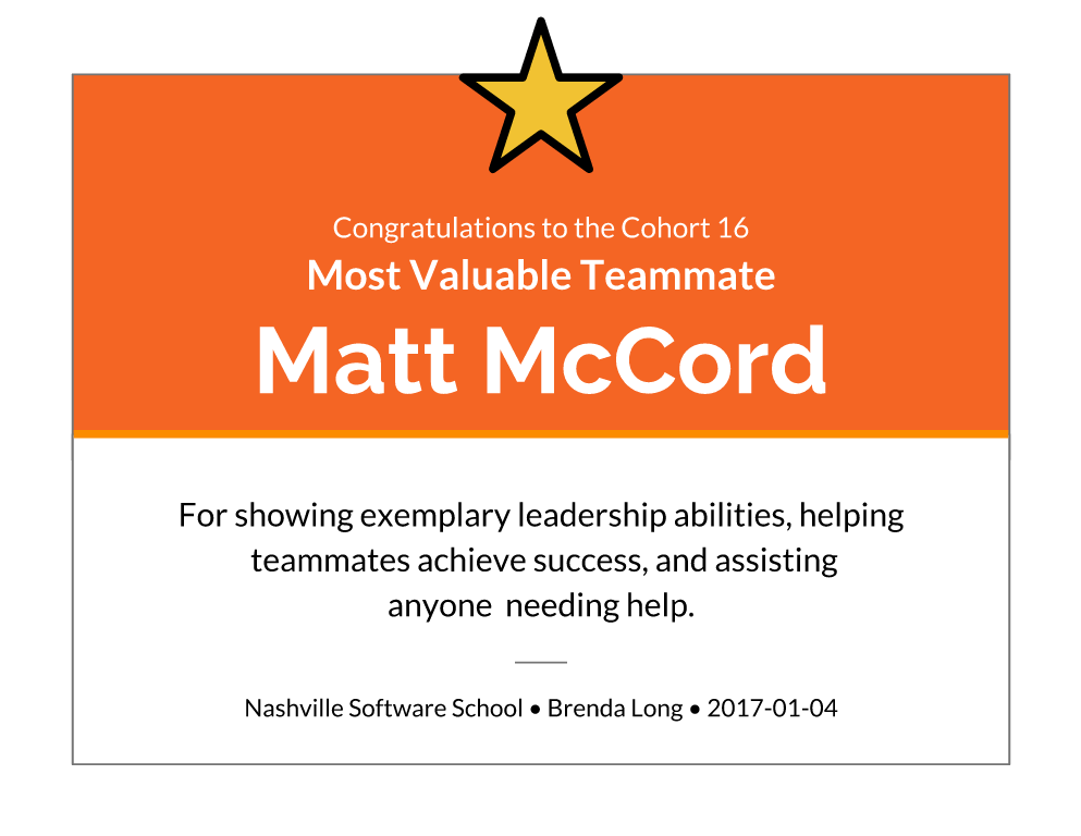 Most Valuable Teammate